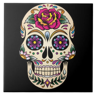 Day of the Dead Sugar Skull with Rose Large Square Tile