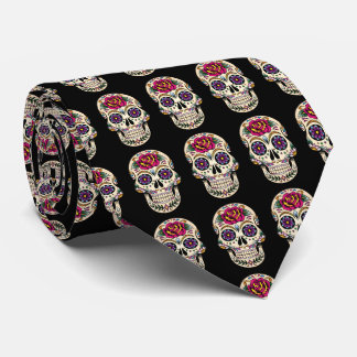 Day of the Dead Sugar Skull with Rose Tie