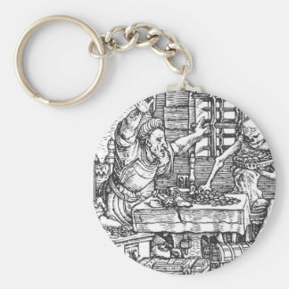Death from The Dance of Death Hans Holbein Basic Round Button Key Ring