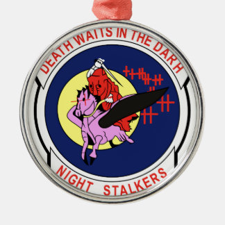 Death waits in the Darh Night Stalkers Silver-Colored Round Decoration