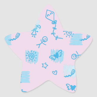 Decoration with children and play. star sticker