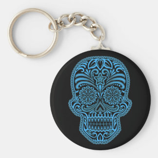 Decorative Blue and Black Sugar Skull Basic Round Button Key Ring