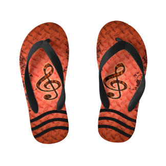 Decorative clef with roses an metal background flip flops