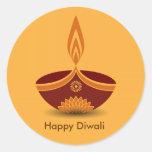 Decorative Diwali Lamp Design Round Sticker