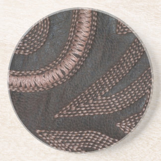 Decoratively Sewn Brown Vintage Leather Drink Coasters