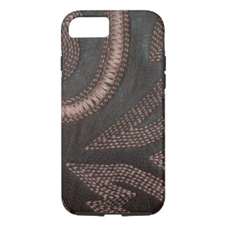 Decoratively Sewn Brown Vintage Leather iPhone 7 Case