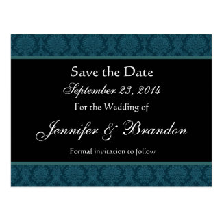 Deep Teal Blue Damask Save Date Postcard