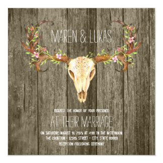 Deer Antler Rustic Wood Southwestern Wedding 13 Cm X 13 Cm Square Invitation Card
