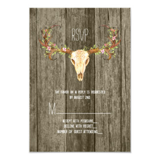 Deer Antler Rustic Wood Southwestern Wedding RSVP 9 Cm X 13 Cm Invitation Card