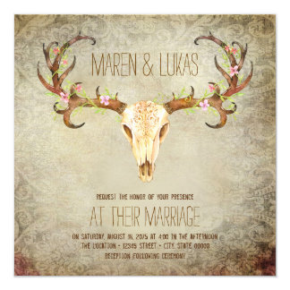 Deer Antler Skull Southwestern Wedding 13 Cm X 13 Cm Square Invitation Card