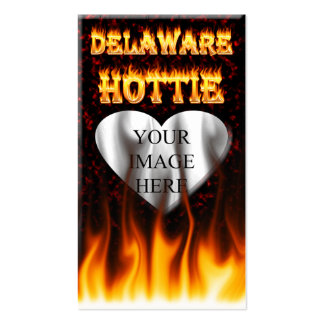 Delaware hottie fire and flames design. pack of standard business cards