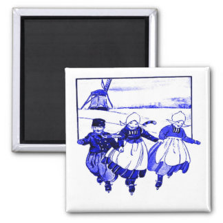 Delft Style,Blue Ducth Kids On Skates Square Magnet