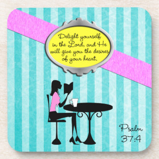 Delight Yourself in the Lord Psalm 37:4 Bible Teal Drink Coasters