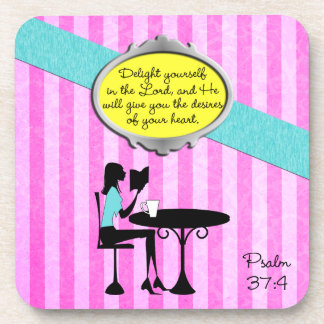 Delight Yourself in the Lord Psalm 37:4 Christian Beverage Coaster