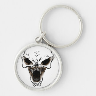 Demon Silver-Colored Round Key Ring