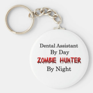 Dental Assistant/Zombie Hunter Basic Round Button Key Ring