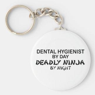 Dental Hygienist Deadly Ninja Basic Round Button Key Ring