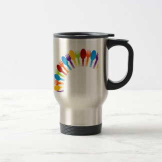 Design element using spoons and forks stainless steel travel mug