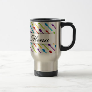 Design element with spoons and fork stainless steel travel mug