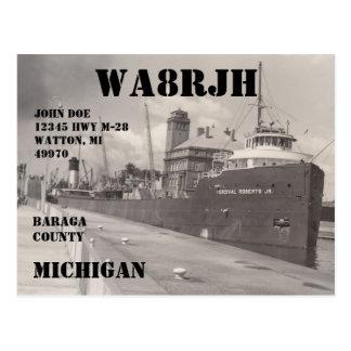 Design Your Own QSL HAM Radio Operator Freighter Postcard