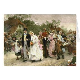 Detail from A Village Wedding by Luke Fildes Greeting Card