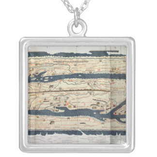 Detail of the Peutinger Table Square Pendant Necklace