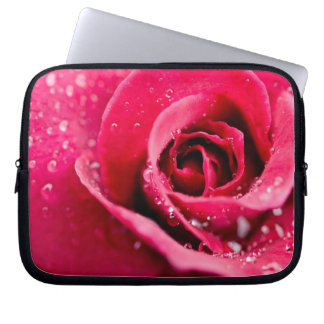 Dew Drops on Rose Electronics Bag Laptop Computer Sleeve