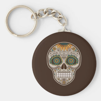 Dia de los Muertos decorative sunflower skull Basic Round Button Key Ring