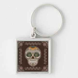 Dia de los Muertos decorative sunflower skull Silver-Colored Square Key Ring