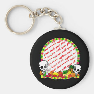DIA DE LOS MUERTOS Photo Frame Basic Round Button Key Ring