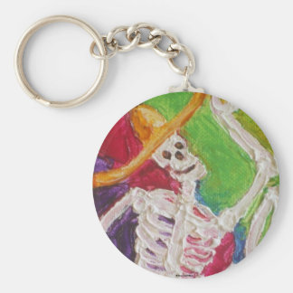Dia De Los Muertos Skeleton Basic Round Button Key Ring