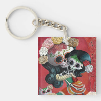 Dia de Los Muertos Skeletons Mother and Daughter Single-Sided Square Acrylic Key Ring