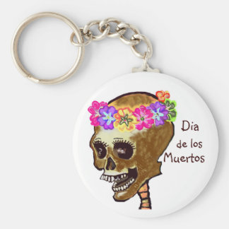 Dia de los Muertos skull Basic Round Button Key Ring