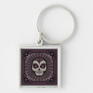 Dia de los Muertos spiderweb skull Silver-Colored Square Key Ring