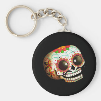 Dia de Los Muertos Sugar Skull Art Basic Round Button Key Ring