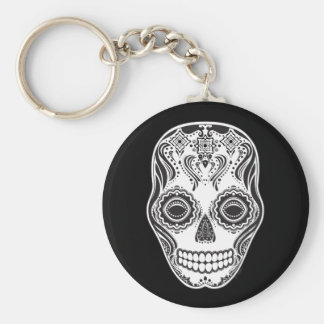 Dia de los Muertos That Girl Skull Basic Round Button Key Ring