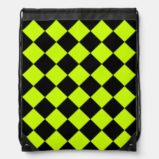 Diag Checkered - Black and Fluorescent Yellow Backpacks