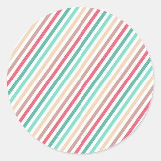 Diagonal Chic Multicolored Stripes Round Sticker