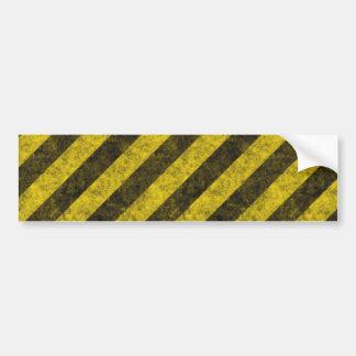 Diagonal Construction Hazard Stripes Bumper Sticker