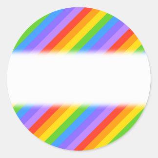 Diagonal Rainbow Stripes Pattern. Round Sticker