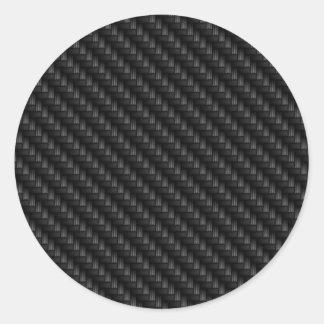 Diagonal Tightly Woven Carbon Fiber Texture Round Sticker