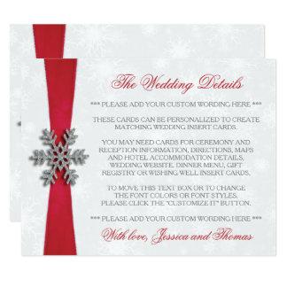 Diamante Snowflake & Red Ribbon Winter Wedding 11 Cm X 14 Cm Invitation Card