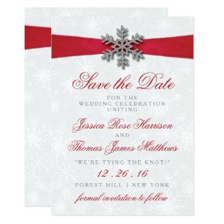 Diamante Snowflake & Red Ribbon Winter Wedding 13 Cm X 18 Cm Invitation Card