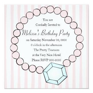 Diamond and Pearls 13 Cm X 13 Cm Square Invitation Card