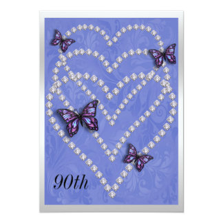 Diamond Hearts & Butterflies 90th Birthday 13 Cm X 18 Cm Invitation Card