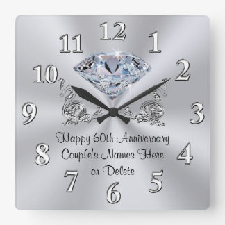 Diamond Personalized 60th Anniversary Gifts CLOCK