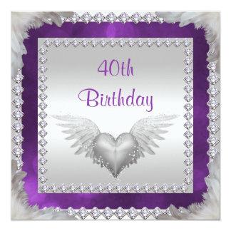 Diamonds & Feathers 40th Birthday 13 Cm X 13 Cm Square Invitation Card