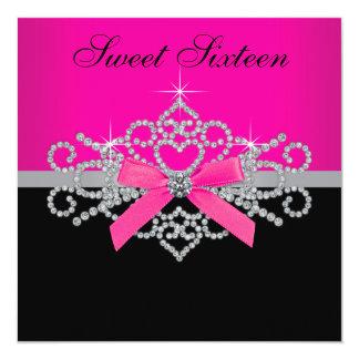 Diamonds Hot Pink Black Sweet 16 Birthday Party 13 Cm X 13 Cm Square Invitation Card