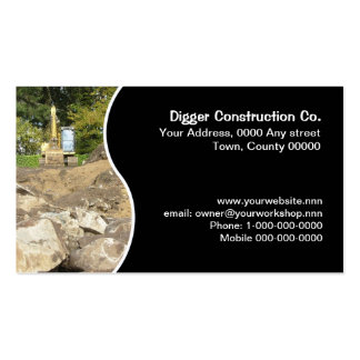 Digger on rocky building site pack of standard business cards