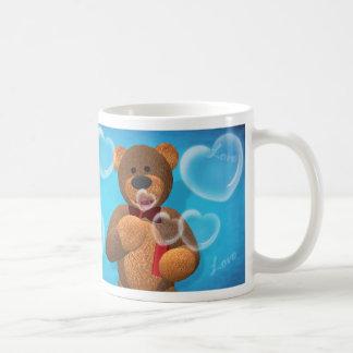 Dinky Bear blowing Heart Bubbles Basic White Mug